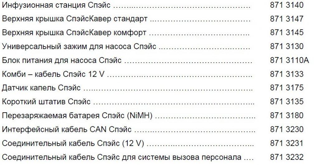 Каталожные номера Инфузомат Спэйс B braun