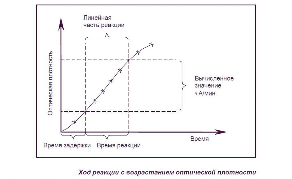 Ход реакции с возрастанием оптической плотности